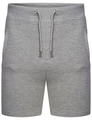Mens Samuel Stripe Quilted Qutory Sweat Shorts in Grey Marl