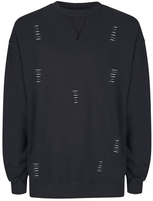 Slash Destroyed Ripped Front Sweatshirt in Navy