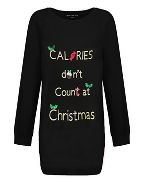 Ladies Calories Don't Count Sequin Longline Christmas Jumper In Black