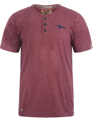 Essential Henley T-Shirt in Bordeaux Marl - Tokyo Laundry
