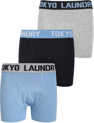 Boys (6-13yr) Henson (3 Pack) Boxer Shorts Set in Allure Blue / Sky Captain Navy / Lt Grey Marl – Tokyo Laundry