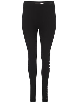 Vera side slash black leggings