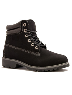 Kat 6 hole lace up black hiker boots