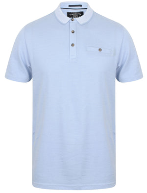 Leopold Jacquard Cotton Polo Shirt In Placid Blue - Kensington Eastside
