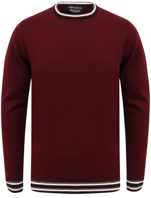 Alsace Crew Neck Jumper with Contrast Tipping In Oxblood - Kensington Eastside