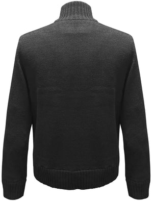 Beckford Flannel Lined Knitted Cardigan in Black - Kensington
