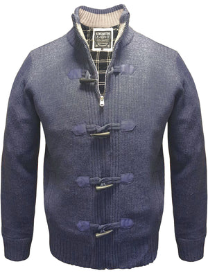 Beckford Flannel Lined Knitted Cardigan in Midnight Blue Marl - Kensington