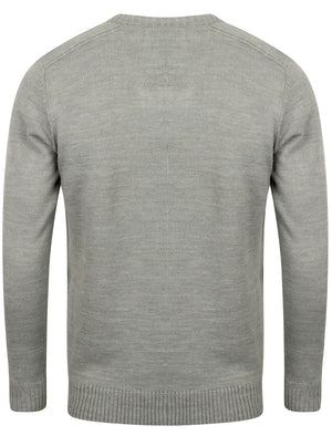 Camley V Neck Jumper with Ribbed Panels In Grey Chine - Kensington Eastside