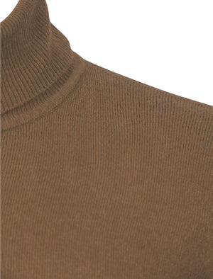 Craig Roll Neck Knitted Jumper in Taupe - Kensington Eastside