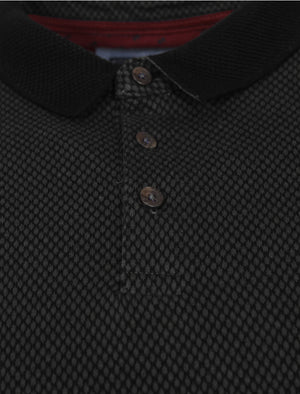Jacquard Cotton Polo Shirt in Black – Kensington Eastside