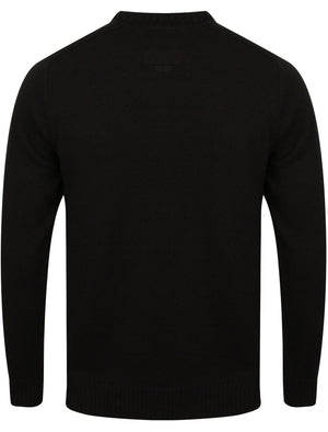 Drew Crew Neck Jumper with Ribbed Panels In Black – Kensington Eastside