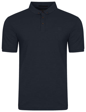 Eastmoor Jacquard Textured Stripe Polo Shirt in True Navy – Kensington Eastside