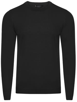 Finley Crew Neck Knitted Jumper in Black - Kensington Eastside