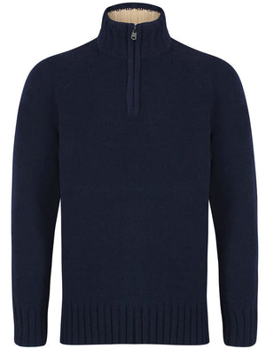 Haggs Zip Neck Chenille Pullover Jumper in Eclipse Blue – Kensington Eastside
