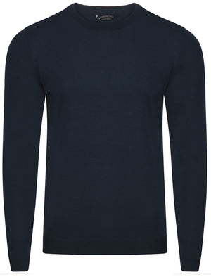 Henriks Cotton Knit Jumper in Dark Navy - Kensington Eastside