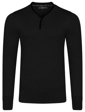 Kallias Faux Leather Trim Henley Jumper in Black - Kensington Eastside