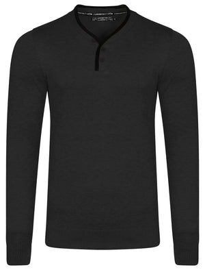 Kallias Faux Leather Trim Henley Jumper in Charcoal Marl - Kensington Eastside