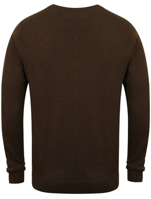 Jefferson V Neck Cotton Jumper in Brown Marl - Kensington Eastside