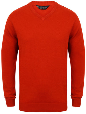 Jefferson V Neck Cotton Jumper in Rust Marl - Kensington Eastside