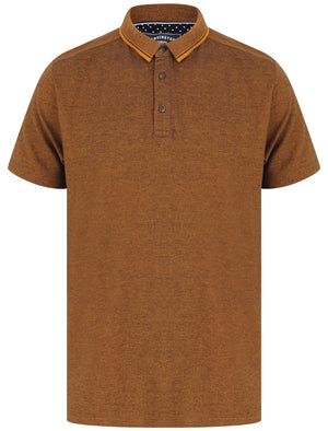 Lowndes 2 Cotton Pique Polo Shirt with Jacquard Collar In Buckthorn Brown – Kensington Eastside