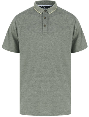 Lowndes 2 Cotton Pique Polo Shirt with Jacquard Collar In Seagrass – Kensington Eastside