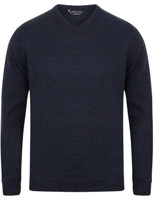 Martel V Neck Wool Blend Jumper In Dark Navy / Black - Kensington Eastside