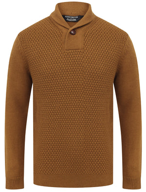 Merrion Shawl Neck Textured Knit Pullover Jumper in Rubber Brown - Kensington Eastside