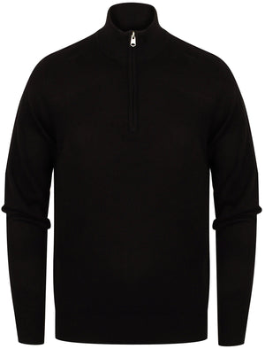 Redwood Half Zip Neck Cashmilon Knit Jumper in Black - Kensington Eastside