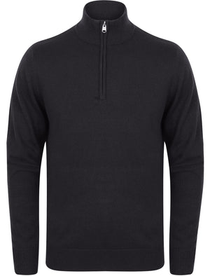Redwood Half Zip Neck Cashmilon Knit Jumper in Charcoal - Kensington Eastside
