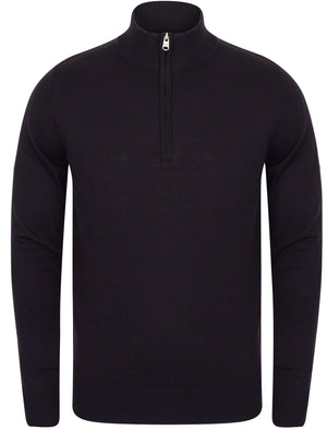 Redwood Half Zip Neck Cashmilon Knit Jumper in Dark Navy - Kensington Eastside