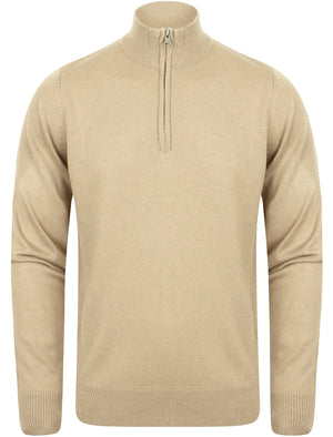 Redwood Half Zip Neck Cashmilon Knit Jumper in Stone – Kensington Eastside