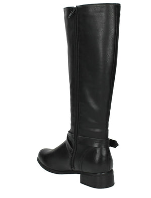Erin Faux Leather Knee High Boots with Buckle Strap in Black