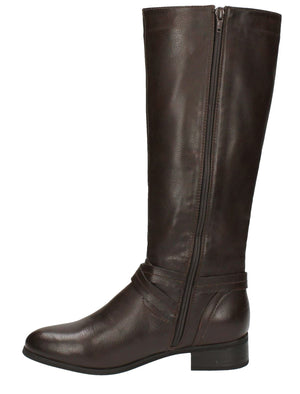 Erin Faux Leather Knee High Boots with Buckle Strap in Brown