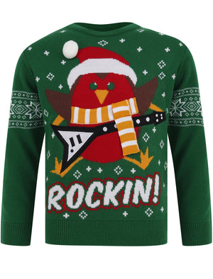 Boys Rockin Robin Novelty Christmas Jumper in Green – Merry Christmas Kids (5-13yrs)