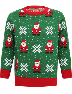 Boys Santa Fairisle Novelty Christmas Jumper in Green – Merry Christmas Kids (5-13yrs)