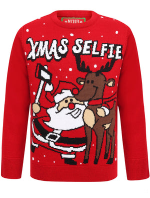 Boys Xmas Selfie Crew Neck Christmas Jumper In George Red - Merry Christmas