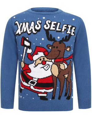 Boys Xmas Selfie Novelty Christmas Jumper in Olympian Blue – Merry Christmas Kids (5-13yrs)