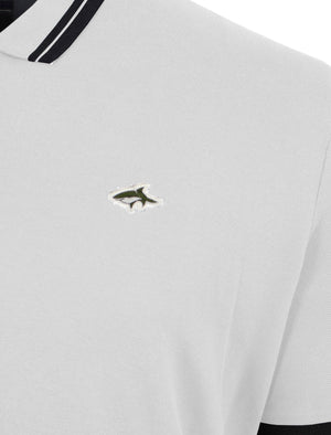 Brodlove Zip Up Polo Shirt in White - Le Shark