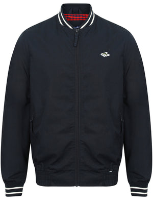 Ardsley Ribbed Detail Cotton Bomber Jacket in True Navy – Le Shark
