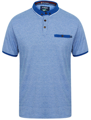 Elgood Feeder Stripe Jersey Polo Shirt in Vespa Blue - Le Shark