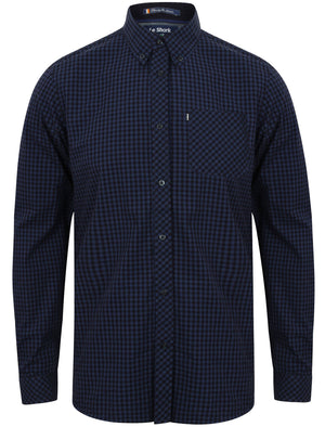 Ashington Gingham Long Sleeve Cotton Shirt in Indigo – Le Shark