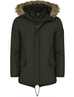 Axton Mock Insert Fur Hooded Parka Jacket in Woodland Khaki  - Le Shark