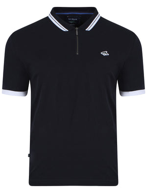 Brodlove Zip Up Polo Shirt in Navy - Le Shark