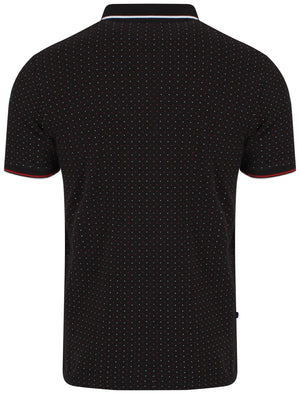 Brushwood Polkadot Polo Shirt in Black - Le Shark
