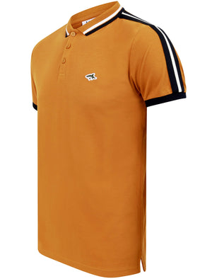 Crown Cotton Pique Polo Shirt with Racer Stripe Sleeves In Buckthorn Brown - Le Shark