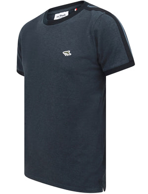 Drayton Cotton Pique T-Shirt with Racer Stripe Sleeves In Vintage Indigo - Le Shark