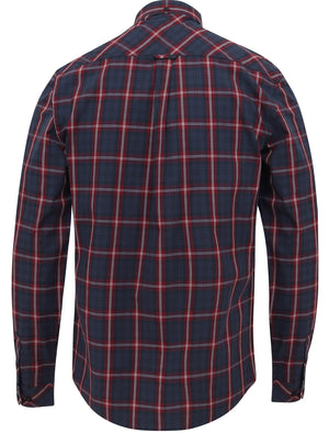 Halton Checked Cotton Long Sleeve Shirt In Tawny Port – Le Shark