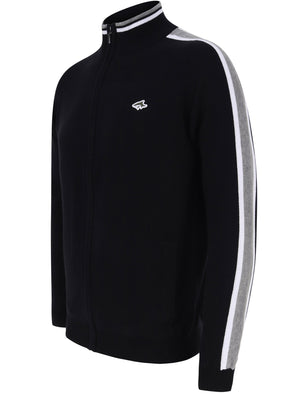 Hemmings Zip Up Funnel Neck Cardigan with Stripes in Jet Black - Le Shark