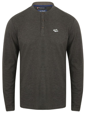 Highbury Piqué Long Sleeve Top with Granddad Collar in Charcoal Marl – Le Shark