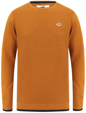 Hinault Textured Cotton Knit Jumper with Tipping In Buckthorn Brown – Le Shark